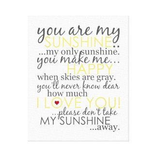 Vous êtes mon soleil - blanc - toile enveloppée impressions sur toile
