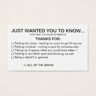 Vous sucez au stationnement cartes de visite