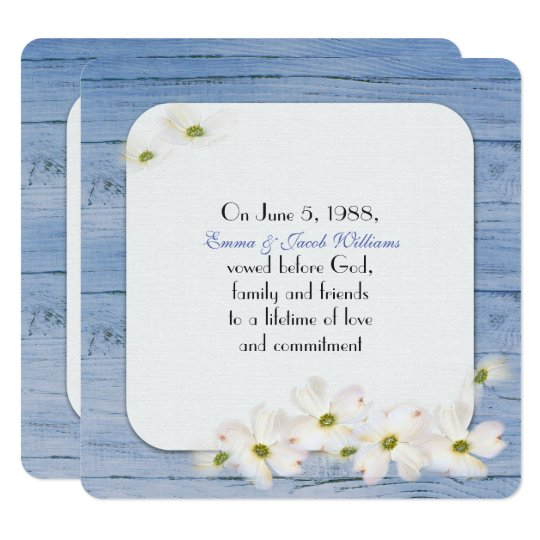 vow renewal- blue wood with soft floral bouquet card