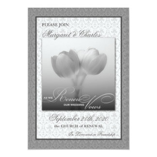 Vow Renewal Ceremony Invitation Silver Tulips