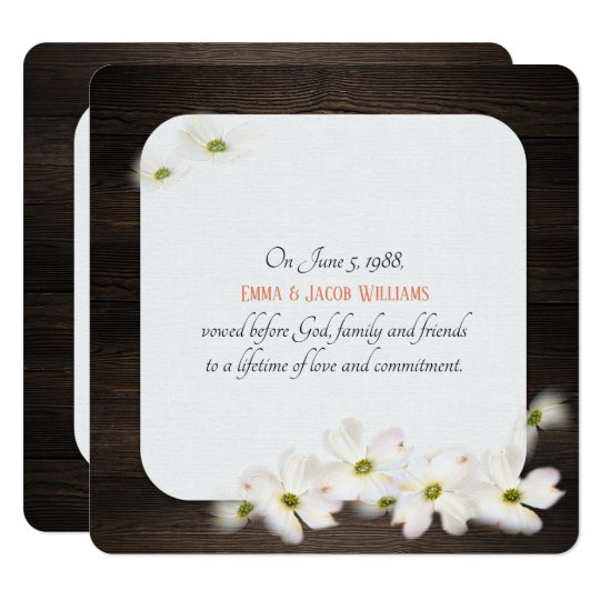 vow renewal- dark oakwood with soft floral bouquet card