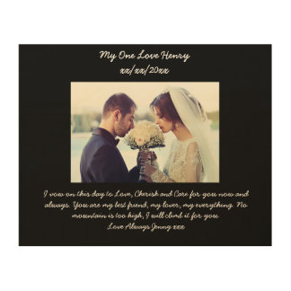 Wedding Vow Renewal Gift For Husband : Wedding Vow Wood Canvas Wedding Vow Wood Photo Prints