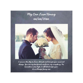 Vow renewal gift personalized chalkboard canvas print