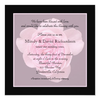 "Vow Renewal Light Pink Rose 5.25"" Square Invitation Card"