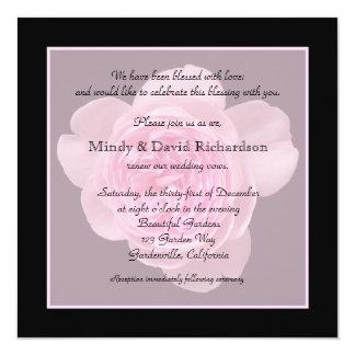 "Vow Renewal Light Pink Rose 5.25"" Square Invitation Card"