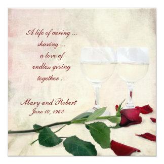 "Vow Renewal on Wedding Anniversary 5.25"" Square Invitation Card"