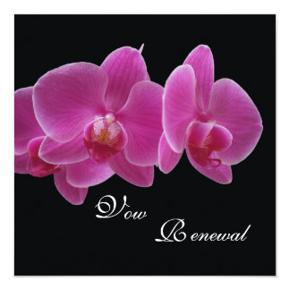 "Vow Renewal Purple Orchids 5.25"" Square Invitation Card"