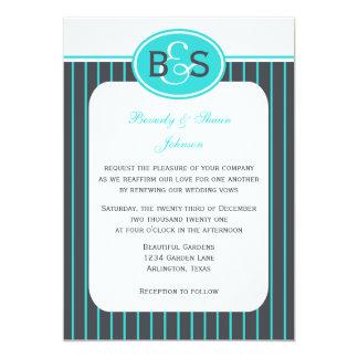 "Vow Renewal Robin Egg Blue Stripe 5"" X 7"" Invitation Card"