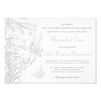 Vow Renewal Silver 25th Wedding Anniversary Card