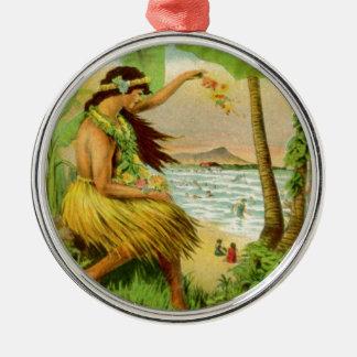 Voyage hawaïen vintage ornement rond argenté