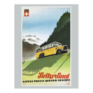 Voyage vintage d'autobus alpin de la Suisse Carte Postale