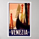 Voyage vintage de Venezia Venise Italie Poster