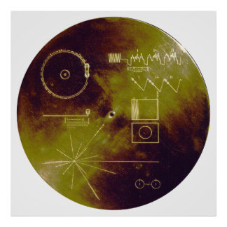 Voyager 1 and 2 Golden Record Sounds of Earth Poster