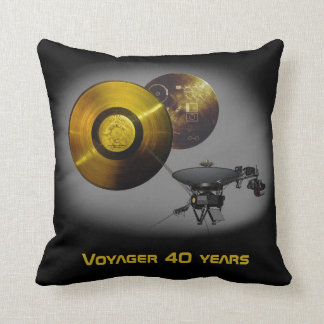 Voyager Spacecraft and Golden Record at 40 Throw Pillow