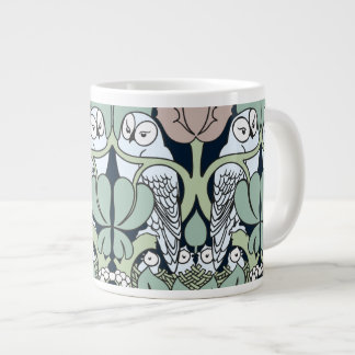 Voysey Art Nouveau Owl Nest Pattern Jumbo Mug