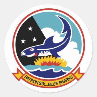 VP-6 BLUE SHARKS CLASSIC ROUND STICKER