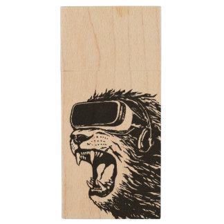 VR Lion Wood USB Flash Drive