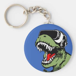 VR T-rex Basic Round Button Keychain