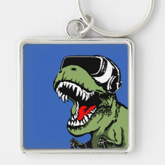 VR T-rex Silver-Colored Square Keychain