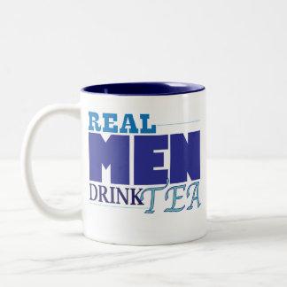 Vrai thé de boissons d'hommes (bleu) mug bicolore