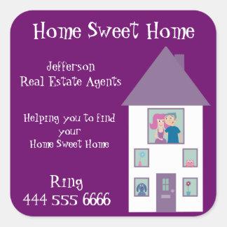 Vraie maison de bonbon à maison d'agent immobilier stickers carrés