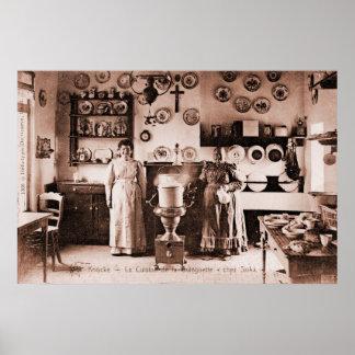 Vraie maison vintage de gaufre belge et de crêpe poster