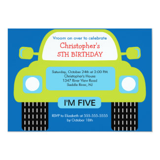 Vroom Car Birthday Party for boys Card