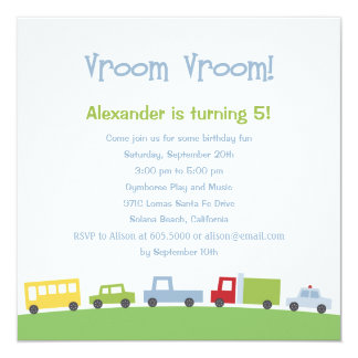 Vroom Vroom Cars Birthday Party Invitation