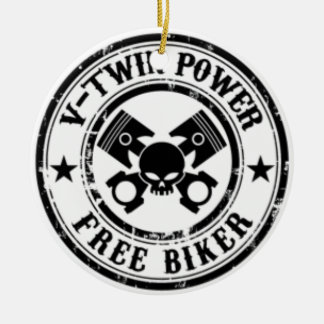 VTWIN POWER FREE BIKER ROUND CERAMIC ORNAMENT