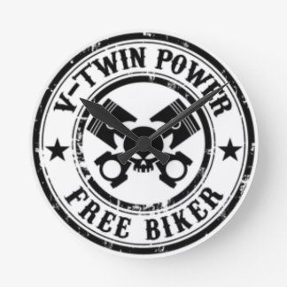 VTWIN POWER FREE BIKER ROUND CLOCK