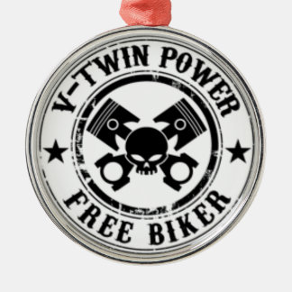 VTWIN POWER FREE BIKER Silver-Colored ROUND ORNAMENT