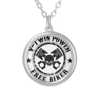 VTWIN POWER FREE BIKER SILVER PLATED NECKLACE