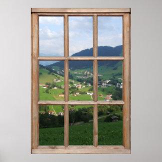 Vue alpine de collines d'une fenêtre poster