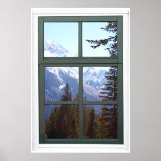 Vue de fenêtre de Faux de montagnes rocheuses du C Poster