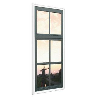 Vue de fenêtre de Faux de moulin à vent de paysage Impressions Sur Toile