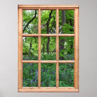 Vue de jardin de conte de fées d une fenêtre de l posters