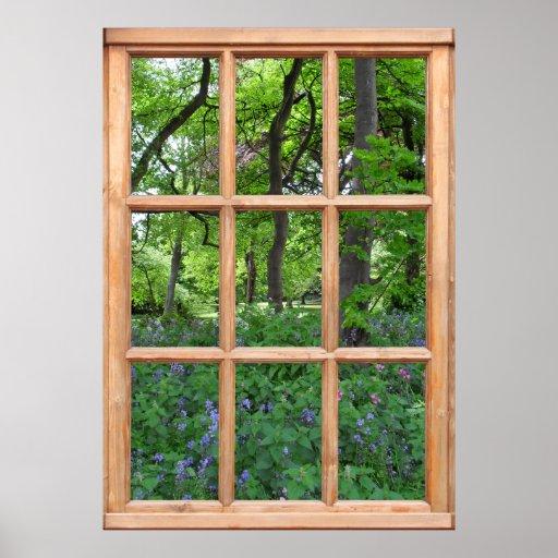 Vue de jardin de conte de fées d'une fenêtre (de l posters