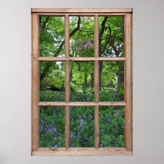 Vue de jardin de jacinthe des bois d une fenêtre affiche