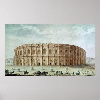 Vue de l'amphithéâtre romain affiche