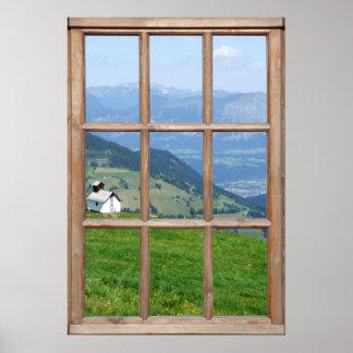 Vue de pré d'Alpes d'une fenêtre Poster