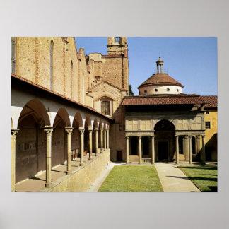 Vue des cloîtres et de la chapelle de Pazzi Affiche