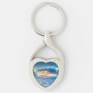 Vue d'océan de Bora Bora Porte-clé Argenté Cœur Torsadé