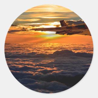 Vulcan bomber sunset sortie classic round sticker