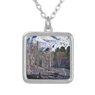 Vulcan Etna on the Isle OF Sicily Silver Plated Necklace
