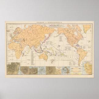 Vulkane, Koralleninseln Atlas Map Poster