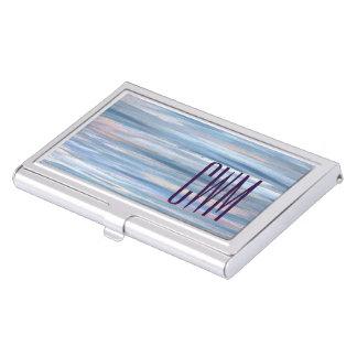 Vulnerable Desk | Monogram Blue Peach Silver | Business Card Holder