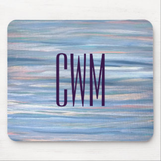 Vulnerable Desk   Monogram Blue Peach Silver   Mouse Pad