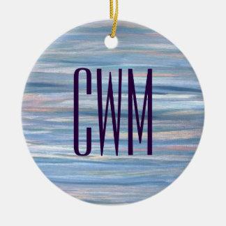 Vulnerable Holiday | Monogram Blue Peach Silver | Ceramic Ornament