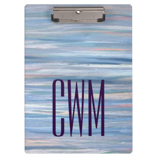 Vulnerable Office | Monogram Blue Peach Silver | Clipboard