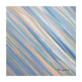 Vulnerable Original Peach Blue Gold Abstract Canvas Print